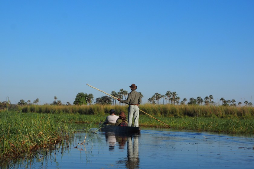 mit dem Mokoro durch das Okavango Delta