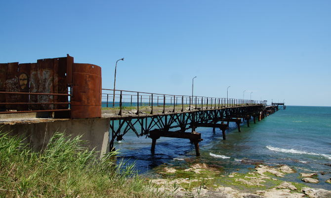 Brücke mit Kormoranen