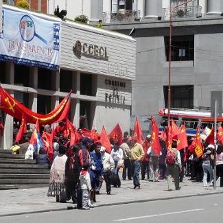 Demo vor dem Postamt