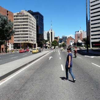 Neujahrstag im Finanzdistrict von Bogotá