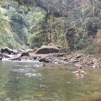 In jedem Fluss kann man auch baden