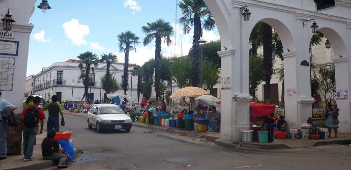 Globo-Verkaufstände in Sucre