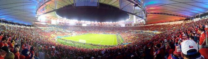 Im Maracana Stadion beim Spiel Chile gegen Spanien