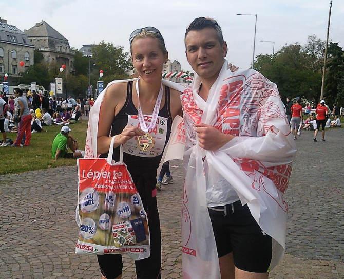Manu und Andre nach ihrem Lauf in Budapest