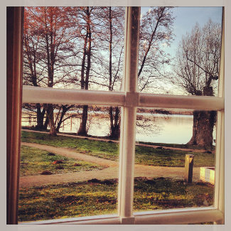 Blick aus dem Fenster des Mirower Schlosscafés