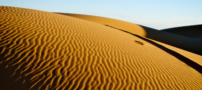 Saharadüne bei Merzouga, Marokko, fotografiert vom Kamelrücken. Auf der Karte sah der Ort gar nicht so weit entfernt aus von Marrakesch. In der Realität lagen die verschneiten Serpentinen des Atlas,  ein stundenlang verstopfter Gebirgspass und eine Nacht im stehengebliebenen Bulli dazwischen. Ich war sehr müde, als wir endlich bei den Kamelen und Dünen ankamen.