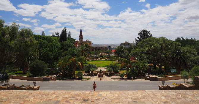Blick vom Parlament auf den Garten