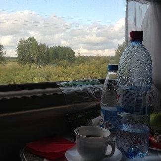 Blick aus dem Zug irgendwo zwischen Omsk und Novosibirsk