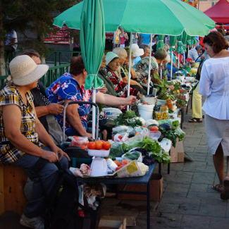 Auf dem Markt in Irkutsk