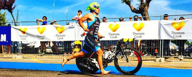 In der Wechselzone beim Thomas Cook Ironman 70.3 Mallorca 2014