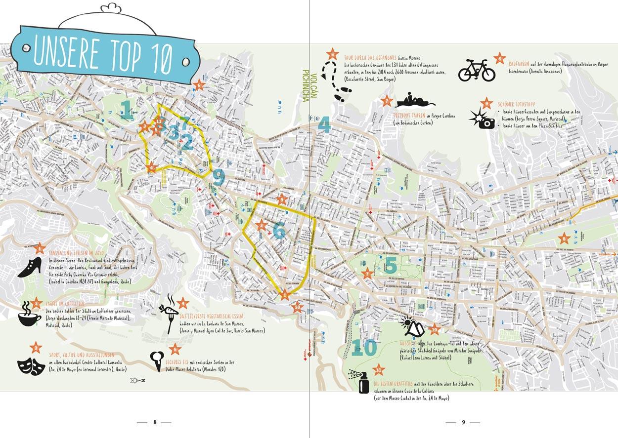 Karte, pur Quito Stadtführer