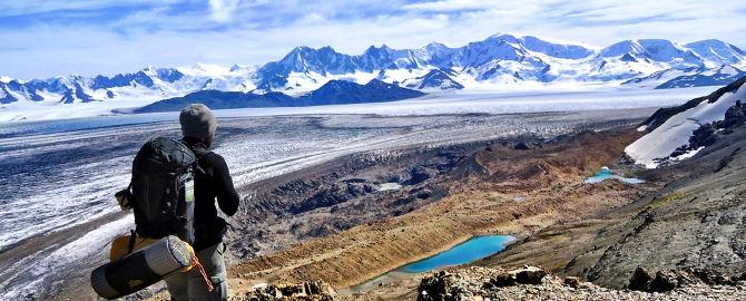 Steve vor dem südlichen Eisfeld