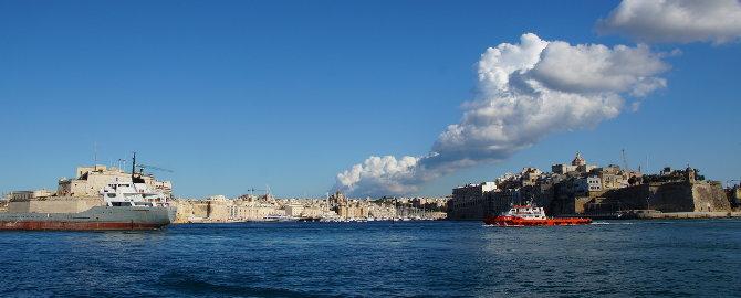 Blick auf die Three Cities von Valletta